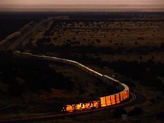 """""""The First Seconds of Light"""" (Jake Siegel (PHX Sub Railfanner)) Tags: rails light golden glowing darling winona arizona railfan sunrise railroad train glint bnsf"""