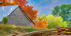 Autumn Barn Digital Watercolor (randyherring) Tags: fall ga georgia northgeorgia us autumn barn color colors leaves mountains season smalltown trees