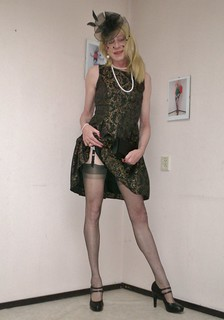 A nice dress and stockings.