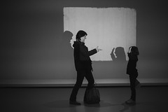 Amour maternelle (theodirector) Tags: moma paris parislife parisianlife visitors exhibition exposition museum visit visits museumvisit museumvisitors modernart art weekend people dailylife artist shadow shadows ombreschinoises ombrechinoise shadowplay shadowplaying players play motheranddaughter mother childhood cute fingers finger chineseshadow gun hands handsintheair projector wall screen projection parent blackandwhite noiretblanc monochrome dual funny pretty women girls girl littlegirl kids kid mom facetoface gallery gallerie cowboys western gangsters gangster