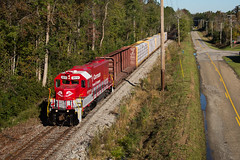 Shoving to Conway (ajketh) Tags: rjcs rj corman carolina lines freight train shortline railroad emd gp38 3812 lumber canfor red hill conway 544 depot station road siding runaround sc south morning