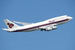 HS-TGX (Ian.Older) Tags: thai airways boeing 747 747400 jumbo jet airliner civil aircraft passenger heathrow departure tg911 hstgx 27725 sirisobhakya