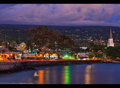 The town of Kailua-Kona on the Big Island of Hawaii (Sam Antonio Photography) Tags: sea landscape beautiful hawaii ocean tree sky palm blue nature vacation island bay kailua kona holiday hawaiian outdoor water usa kailuakona tropical travel tourism relaxation resort scenic paradise architecture bigisland kailuabay samantoniophotography