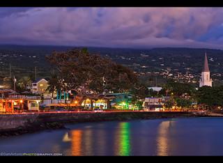 The town of Kailua-Kona on the Big Island of Hawaii