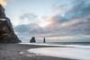 Iceland - Reynisfjara Beach (msmfrr) Tags: reynisfjara beach panorama landscape islanda iceland alba sunrise cielo sky acqua paesaggio mare neve snow clouds nuvole vento wind spiaggia