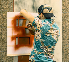 Stencil spray (Rockman of Zymurgy) Tags: upfest 2017 street art bedminster bristol graffiti illustration artist stencil spray paint sticker paste