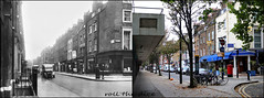 Cleveland Street`1939-2017 (roll the dice) Tags: london westminster camden w1 fitzrovia sad mad retro bygone local old history nostalgia changes collection comparison urban england vanished flats dwelling demolished streetfurniture architecture mail corner uk classic art bt oldandnew pastandpresent hereandnow canon tourism tourists van moussaka taverna shops fashion empty closed trees traffic bicycle windows chimney entrance salad