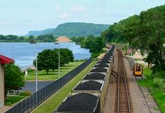 Powder River Basin Coal (knutsonrick) Tags: train railroad coal prbcoal powderriverbasin bnsf bnsfrailway coaltrain csx consumersenergy alma wisconsin almawisconsin stcroixsubdivision