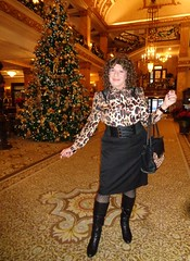 Yes, Once Again I Am Showing Off! (Laurette Victoria) Tags: hotel lobby milwaukee pfisterhotel woman laurette pose boots curls brunette pencilskirt purse belt