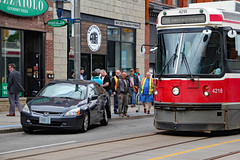 Hello, my name is CRI 1 and I was just hit! (Can Pac Swire) Tags: car auto automobile ttc streetcar tram crash queenstreet east broadview avenue 20170522 2017 may 22 honda hyundai 2017aimg9000 special custom licence license plate number toronto ontario canada canadian accident road