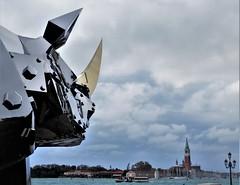 Rhino in Venice (magellano) Tags: venezia venice venecia giardini marinaressa kingkongrhino shihlijen sangiorgiomaggiore lampione lamp biennale arte chiesa church scultura sculpture statua statue vaporetto rinoceronte