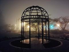 Lightened foggy gazebo. (thnewblack) Tags: lg v30 android smartphone cameraphone britishcolumbia dark gloomy 16mp f16 moody night foggy