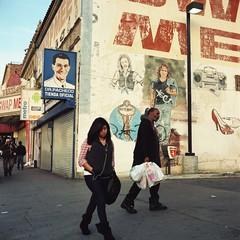 Dr. Pacheco sees all (ADMurr) Tags: la macpark swap meet alvarado street people sign letters picture mural hasselblad kodak ektar 80mm zeiss planar square 6x6 a979 2012