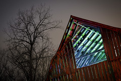 RGB Barn Rafters (Notley Hawkins) Tags: httpwwwnotleyhawkinscom notleyhawkinsphotography notley notleyhawkins 10thavenue lightpainting trees fall outdoors sky 2017 november night nocturne evening tree blue light bucolic ruralfarm missouri farm missouriphotography ruralphotography midwest ruralusa 光绘 光繪 lichtmalerei pinturadeluz ライトペインティング प्रकाशपेंटिंग barn rgb red green roof rafters timbers slats wood