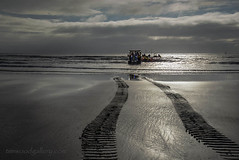 LIFEBOAT TRACTOR TRACKS....PORTHCAWL. (IMAGES OF WALES.... (TIMWOOD)) Tags: wfc welsh flickr cymru wales beach coast porthcawl bridgend flickrmeet lifeboat lifeboatmen rnli lighthouse tim wood gallery