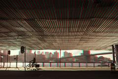 New York, New York (DDDavid Hazan) Tags: newyork ny nyc newyorkcity manhattan brooklynbridge brooklyn eastriver bicycle biker tugboat anaglyph 3d 3danglyph 3dstereophotography redcyan redcyan3d stereophotography stereo3d streetphotography