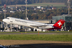 HB-JVC Fokker 100 Helvetic airlines Zurich airport LSZH 14.10-17 (rjonsen) Tags: plane airplane aircraft aviation flying flight takeoff departure evening light