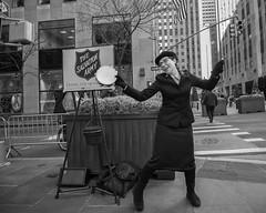 NYC, 2017 (Alan Barr) Tags: newyork newyorkcity manhattan rockefellercenter salvationarmy midtown street sp streetphotography streetphoto blackandwhite bw blackwhite mono monochrome city candid people panasonic lumix gx85