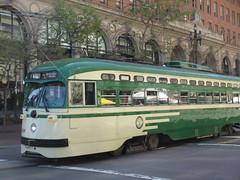 Historic tram car 1050 on Market Street, San Francisco, California (Paul McClure DC) Tags: sanfrancisco california apr2013 embarcadero railroad railway historic architecture