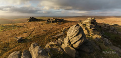 Primordial Light (http://www.richardfoxphotography.com) Tags: greatmistor dartmoornationalpark panorama tor rock sunset stormy granite moorland outdoors