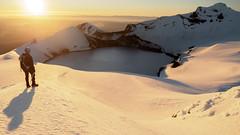 Halcyon Days (blue polaris) Tags: new zealand tongariro national park mt mount ruapehu volcano crater lake summit paretetaitonga tahurangi snow sunrise landscape self portrait sun