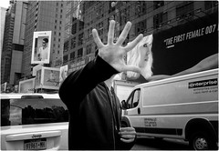 Stop Pictures, Please! (Steve Lundqvist) Tags: new york usa states united america manhattan stati uniti travel trip viaggio traveling model bw urban city urbanscape portrait ny nyc persone ritratto fashion moda mood attractive beauty crossing street road streetphotography boy cityscape background fujifilm x100s big apple hand stop action