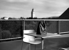 Bag, chair, and table (TPStearns) Tags: monochrome blackandwhite bw leicam9 canon50mmltm14