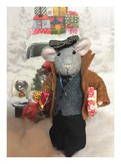 Christmas Shopping (Foxy Belle) Tags: mouse dressed miniature 112 scale doll poseable gift bag gifts snow winter coat handmade craft felt sew make male boy man hat