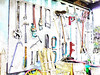 Tool Types (Steve Taylor (Photography)) Tags: art digital shed highkey newzealand nz southisland canterbury christchurch adjustable crowbar missing spanner stake tools wheel wrench broom fork strimmer hammer wirebrush clamp box