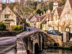Castle Combe (Bobinstow2010) Tags: village town street castlecoome bridge river stream houses wood road topaz photoshop arty