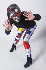 Day 3939 (evaxebra) Tags: wh wah evaxebra 365 365days mondrian art blackmilk face paint facepaint leggings boots matching fine painting
