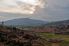 Evening Light (LeftCoastKenny) Tags: madagascar hills buildings rice paddies terraces clouds trees day6