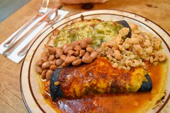 Blue Corn Enchiladas (jpellgen (@1179_jp)) Tags: food restaurant travel nikon sigma 1770mm d7200 december winter roadtrip southwest usa america 2017 santafe newmexico nm sf newmexican mexican mexicanfood newmexicanfood southwesternfood enchiladas foodporn chicken pozole pintobeans chile redchile greenchile