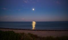 Moon light walking (Ross Major) Tags: moon walking man beach water adelaide south australia night olympus omd10m2 25mm18