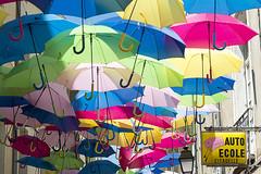 Auto Ecole Citadelle (Jan van der Wolf) Tags: map158596v paraplu parasol herhaling street straat colors colours umbrellas béziers