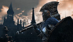 Faraam knight (Tijs Wind, Yarut Grüter) Tags: dark souls soul iii 3 light sword knight adventure journey snow paint tower red blue portreit