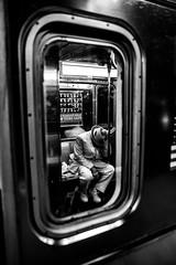 Long days (Alexander Marte Reyes) Tags: blackandwhite blackandwhitephotography mta subway train transportation men people sleeping nikond750 nikonnofilter nikonloveny nikon100 withmytamron urban