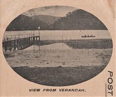 View from verandah of Vangelder's Hotel, Woy Woy, N.S.W. - very early 1900s (Aussie~mobs) Tags: vintage newsouthwales australia pub hotel woywoy vangelder accommodation advertisement
