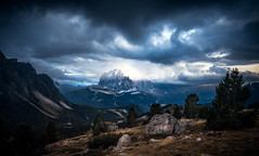 Drama in the Dolomites (One_Penny) Tags: dolomiten italy dolomites hiking landscape mountains nature outdoor photography canon6d sky clouds dramatic sinister twilight evening storm rocks stones light langkofel colraiser südtirol trees view scenery weather wild drama peak