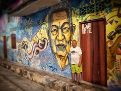 El dueño (Mariasme) Tags: bar iquitos peru owner man portrait mural gamewinner shadesofbluegreen mpt609 matchpointwinner challengeyouwinner cyunanimous