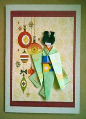 Christmas card 1_2017 (tengds) Tags: japanesepaperdoll origamidoll ningyo kimono green dragonflies yellow obi blue flower japanesepaper yuzenwashi wrappingpaper washi chiyogami christmasornaments maroon card handmadecard christmascard papercraft tengds