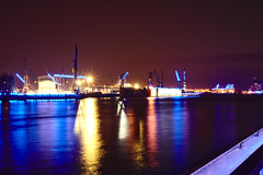 Colorful Port at Night (_Cornucopia_) Tags: night port harbor landungsbrücken reflections colors water canon darktable longexposure hamburg