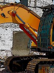 First Comes Destruction (Steve Taylor (Photography)) Tags: art digital demolition rebuild brown black white orange brick metal newzealand nz southisland canterbury christchurch cbd city outline digger excavator jcb