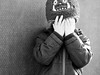 PB121332 (NorthernJoe) Tags: olympus mzuiko boy son black white candid hide seek hands portrait monochrome child hat gruffalo cold game fun play