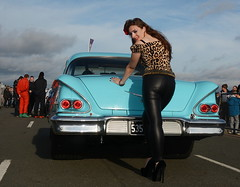 Holly_7810 (Fast an' Bulbous) Tags: girl woman pinup model classic car chevy chevrolet santapod leopard print leather pvc jeans leggings people outdoor vehicle american automobile long brunette hair high heels stilettos shoes beauty