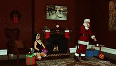 Christmas / Noel 2017 (Dani Boy Boy Dani) Tags: daz 3d studio render pere noel santa claus helper gifts cadeaux biscuits lait cheminée feu fire fireplace foyer clock socks