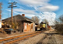 Finleyville, PA (Wheelnrail) Tags: avr allegheny valley railroad avr3 train trains locomotive emd gp402 rails bridge washington fall autumn color pennsylvania homes depot bo