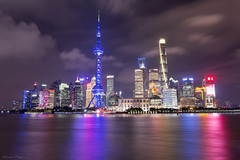 Shanghai Cityscape (Masoud Najari) Tags: cityscape photography lake light trails city seoul architecture dusk night nighttime purple blue reflection yellow boat bridge skyscraper building water tree tower tall sky road skyline jungle shanghai china metropolis pudong thebund bund cityview