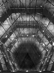 Tunnel of glass. (SteveMatten) Tags: ifttt 500px intersection monochrome station tunnel symmetry greyscale convergence light streak overpass monotone underpass look up lookup