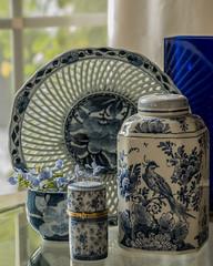 Blue Ceramics Still Life (Betweendunes) Tags: blue ceramic stilllife plumbago flower window